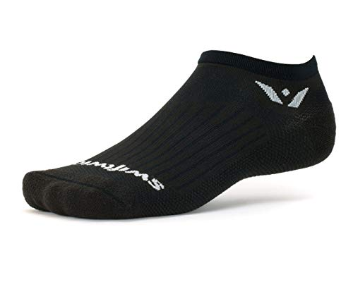 Swiftwick- ASPIRE ZERO | Running and Cycling Socks for Men and Women | No-Show, Lightweight, Firm Compression Fit | Black, Large