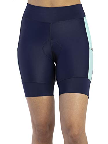 MooMotion Womens Triathlon Shorts - Soft Padded Quick Dry Chamois - Side Pockets - Swim/Bike/Run - Made in The USA X-Small Aquamarine/Navy