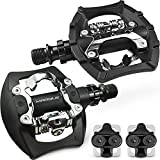 """MARQUE SPD MTB Dual Pedals – Mountain Bike 9/16"""" Axle Pedals Compatible with Shimano SPD Cleats and Platform for Cycling with Regular Shoes, Great for Trekking Bicycles – SPD Cleats Included (Black)"""