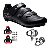 Zol Fondo Road Cycling Shoes with Pedals and Cleats(8 Medium, Black)