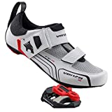 Venzo Cycling Bicycle Triathlon Outdoor Men Tri Road Bike Shoes Compatible with Shimano SPD SL Look White - with Sealed Bearing Road Bike Pedals 40