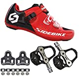 21Grams SIDEBIKE Men's Cycling Shoes,Breathable Cushioning Road Bike Shoes with Pedals & Cleats US11 Red