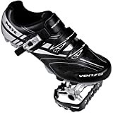Venzo Mountain Men's Bike Bicycle Cycling Shoes - Compatible with Shimano SPD Cleats - Good for Spin Cycle, Off Road and MTB Buckle Strap + Multi-Use Pedals & Cleats - Size 12