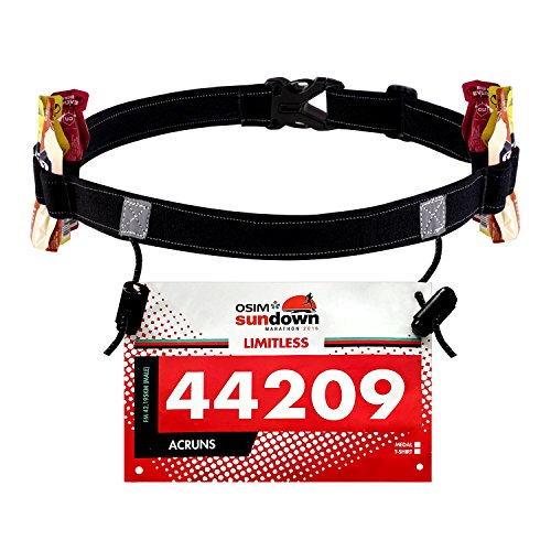 WEIJI Running Number Belt for Running, Cycling,Marathon,Triathlon Race,with 6 Gel Loops to Attach Energy Gel