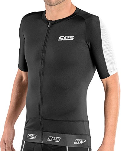 SLS3 Triathlon Men`s FX Tri Top Short Sleeve | 1 Pocket | Full Zipper | Jersey | Singlet | Tank | German Designed (Black/White, L)