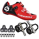 21Grams SIDEBIKE Men's Cycling Shoes,Breathable Cushioning Road Bike Shoes with Pedals & Cleats Red