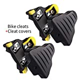 LANNIU Road Bike Cleats+Cleat Covers Set,Compatible with Shimano SPD-SL Pedals SM-SH11 Cleats,6 Degree Float for Road Bike Indoor Spin Cycling Shoes Comfortable
